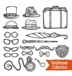 Gentelman vintage accessories doodle black set vector