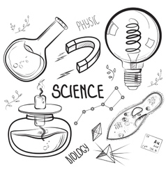 Hand drawn science set vector