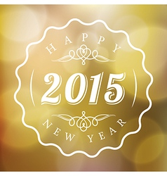 Happy New Year sign on blurred gold background vector image vector image