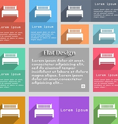 Hotel bed icon sign Set of multicolored buttons vector image