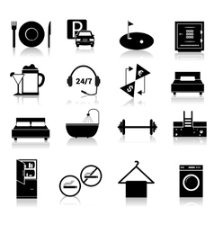 Hotel icons set black vector image