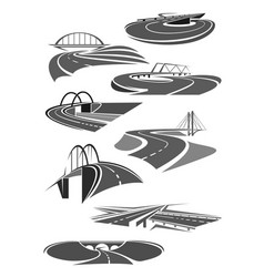Icons of road tunnels and highway bridges vector