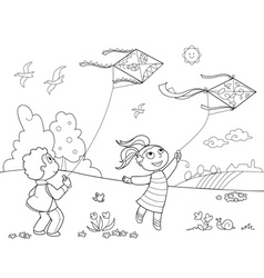 Kids playing with kites vector image vector image