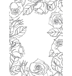 Line rose frame vector