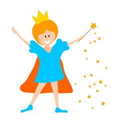 Little girl in the crown and with a magic wand on vector