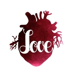 Love lettering on watercolor heart vector