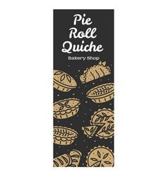 Meat pie roll quiche banner vector