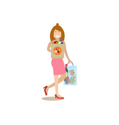 Mother with purchases concept vector