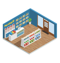 pet shop interior composition vector image vector image