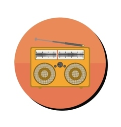 Radio stereo portable in round frame vector