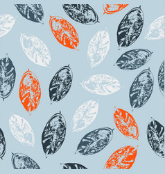 seamless pattern with leaves on blue background vector image