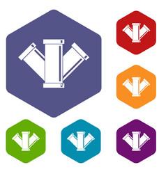 Sewerage icons set hexagon vector