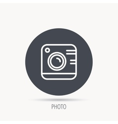 Vintage photo camera icon Photography sign vector image