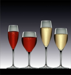 Wine glasses red and white vector