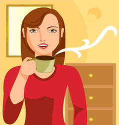 woman-drinking-coffee vector image vector image