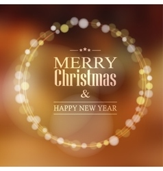 Christmas greeting card with bokeh lights wreath vector