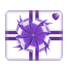 Purple gift box with heart on it isolated on white vector