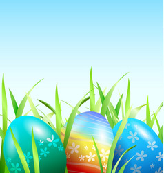 Background with easter eggs in the grass vector