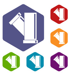 Tee fitting pipe icons set hexagon vector