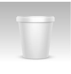 White bucket container for dessert ice cream vector
