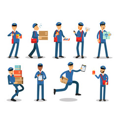 Postman characters doing their job set cheerful vector