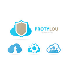 Shield and cloud logo combination vector