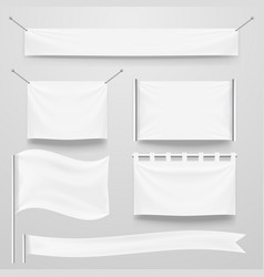 White clear textile banner and flags template set vector
