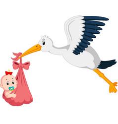 Stork with baby cartoon vector