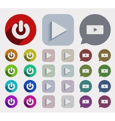 Flat play icons set vector