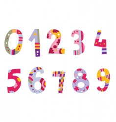 Set of cute numbers vector
