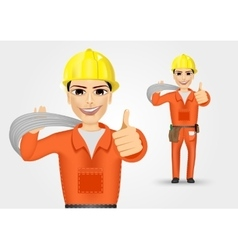 Electrician giving thumbs up vector