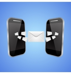Mail exchange between phones vector