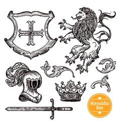 Heraldic Symbols Set Black Doodle Sketch vector image