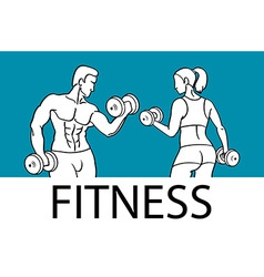 Fitness with muscled man and woman silhouettes man vector