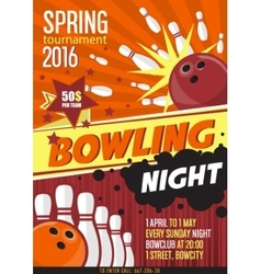 Bowling Tournament Poster Template Design with vector image