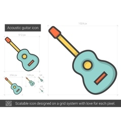 Acoustic guitar line icon vector