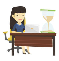 Asian business woman working in office vector