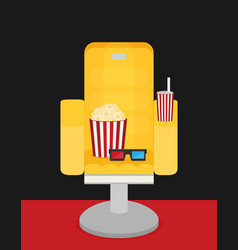 cinema chair with popcorn soda vector image