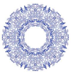 Empty round frame gzhel style blue flower mandala vector