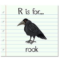 Flashcard letter r is for rook vector