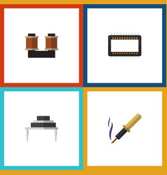 flat icon device set of repair destination coil vector image vector image