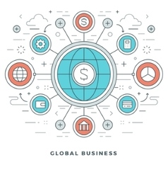 Flat line global business concept vector