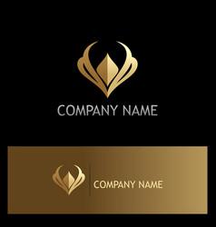 golden luxury letter v logo vector image