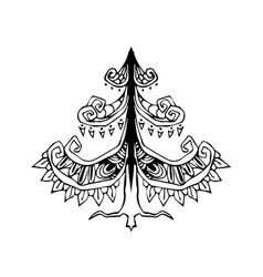 Hand drawing ethnic christmas tree zentangle style vector