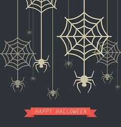 Happy halloween spider with cobweb vector