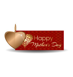 Happy mothers day greeting card with gold heart vector