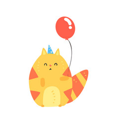 Lovely cartoon red cat in a blue party hat holding vector