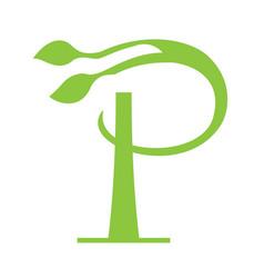 p letter floral logo design vector image vector image