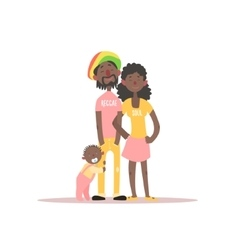 Parents and a baby rastafarian family vector