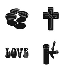 Religion product and other web icon in black vector